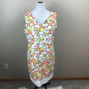 CeCe Pastel Colored Geometrical Midi Dress